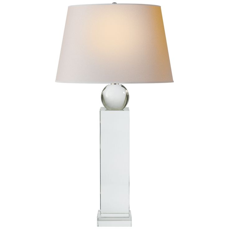 Geometric Tall Table Lamp in Crystal w/ Natural Paper Shade design by E. F. Chapman