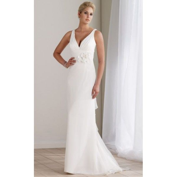 Mon Cheri Destinations Chiffon V Neck Informal Wedding Dress. #Sleeveless, #Vneckkline, #Empire, #Train, #Ivory, #Wedding, #Dress, #Bridal. Only $282.99