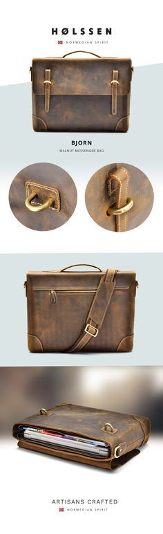 Vintage leather messenger briefcase for men. Stylish retro vintage work bag. Perfect to carry laptop computer macbook ipad.