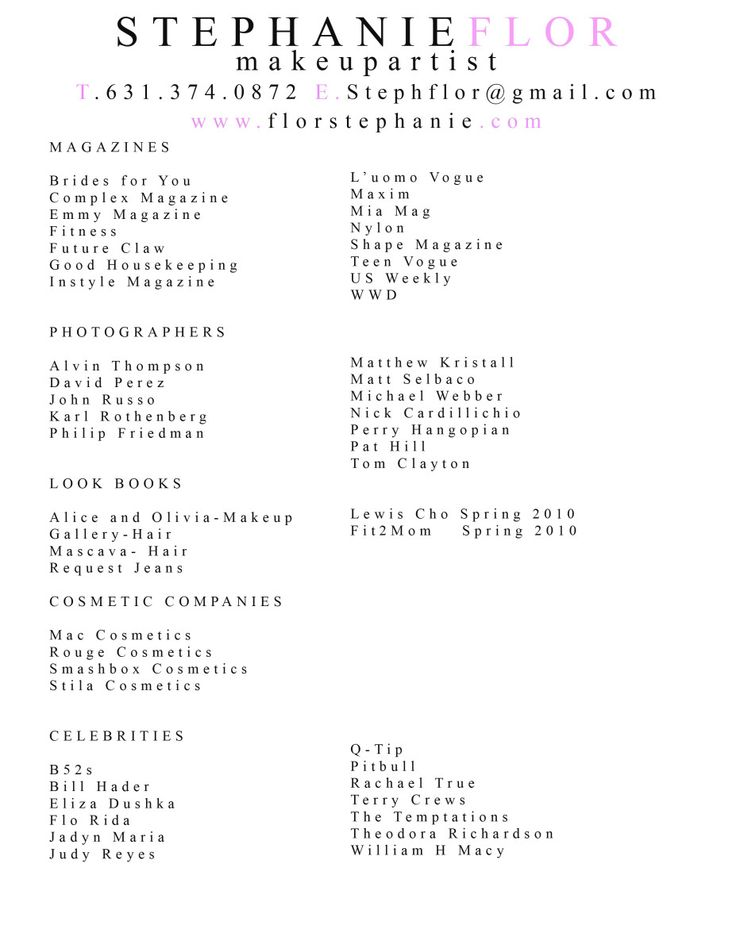 Makeup resume examples
