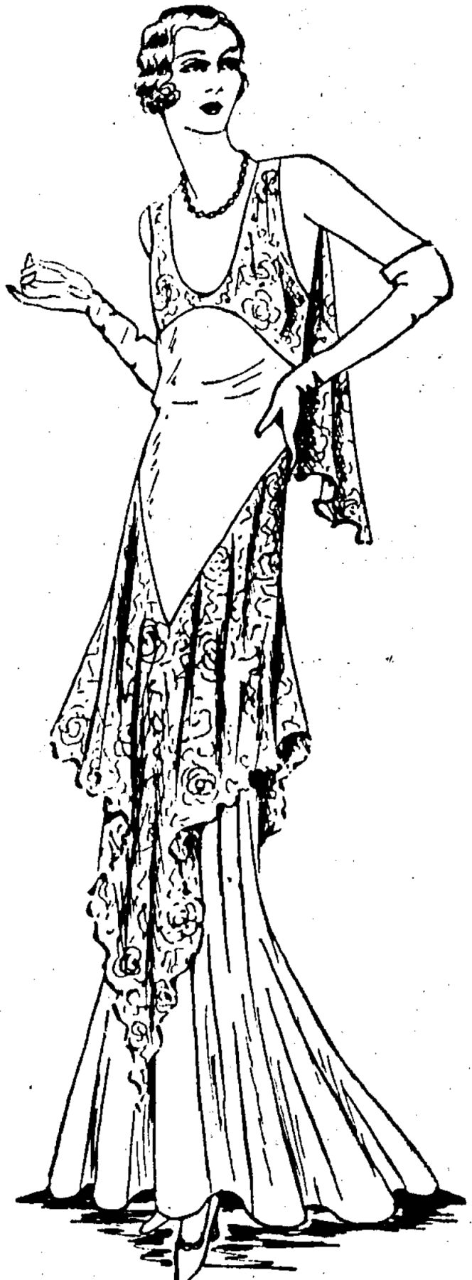 Graceful evening gown in lace and chiffon. Equally successful in coloured laces and black. (Evening Post, 14 November 1931)