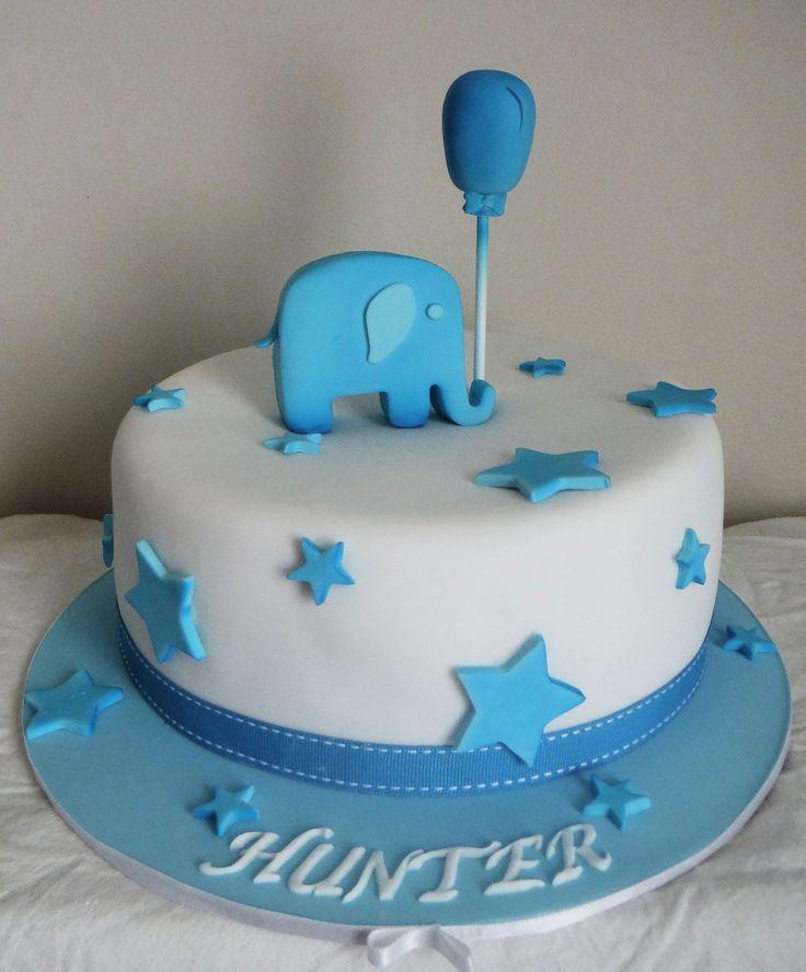 1 Tier White Velvet Cake for Naming Day with Gumpaste Elephant & Balloon