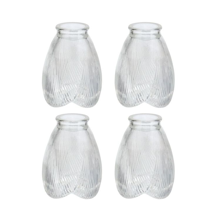 """# 23003-4 Transitional Style Replacement Glass Shade, 2 1/8"""" Fitter Size, 5"""" high x 3 3/4"""" diameter, 4 Pack"""
