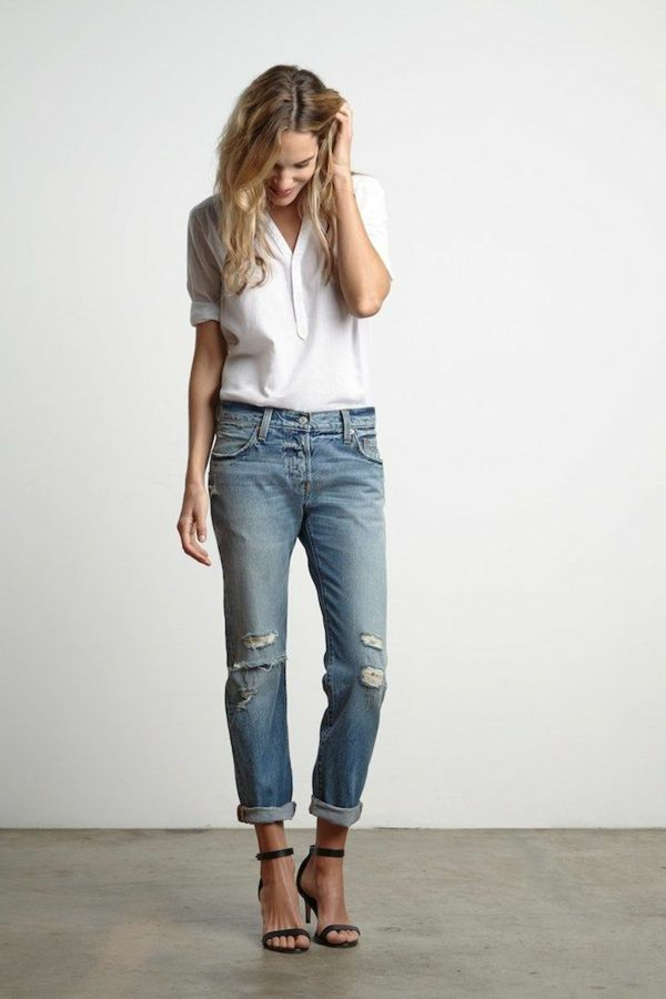 Femme jean boyfriend tenue
