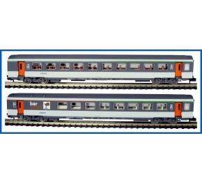 Train Piko échelle N : COFFRET DE 2 VOITURES CORAIL , TYPE VTU, LOGO NOUILLE, EP. IV/V