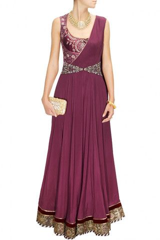 Maroon embroidered drape indo-western gown – Panache Haute Couture