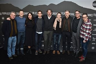 Producer Brunson Green, Actress Lily Gladstone, Actor Matt Bomer, Director Alex Smith, Actor Josh Wiggins, Actor Bill Pullman, Director Andrew Smith and Producer Laura Ivey attend the 'Walking Out' premiere on day 3 of the 2017 Sundance Film Festival at Library Center Theater on January 21, 2017 in Park City, Utah.
