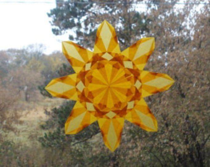 Fenêtre jaune 8 points étoiles Sun Catcher - maison de vacances d'été d'hiver Solstice Decor anniversaire respectueux de l'environnement durable naturel décoration