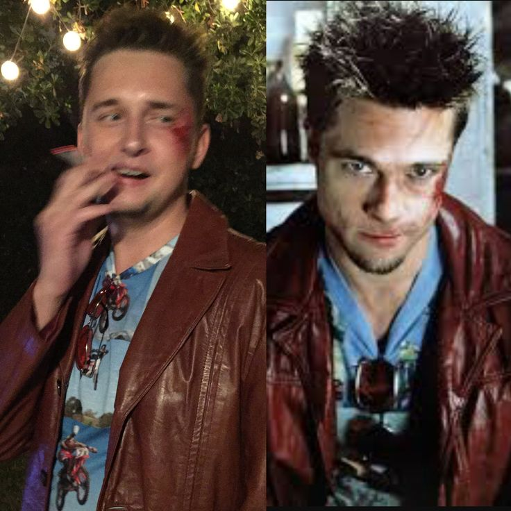 Fight Club Halloween Costume   Tyler Durden Brad Pitt Jacket Custom T-Shirt Rose Colored Glasses Spiked Hair Bruises and Scar Chin Beard