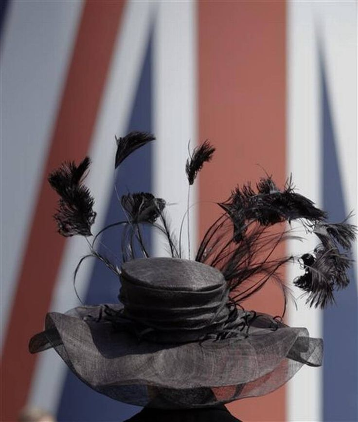 A woman wears an ornate feathered hat on the first day of Royal Ascot horse racing meet at Ascot, England, Tuesday, June 16, 2015. Royal Ascot is the annual five day horse race meeting that Britain's Queen Elizabeth II attends every day of the event. (AP Photo/Alastair Grant)