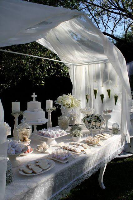 Shabby Chic Dessert Table Backyard Baptism
