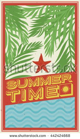 Beach in summertime with starfish in the sand and palm leaves scattered in all ground and a crashing wave, in retro flat style.