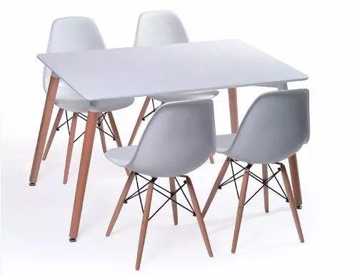 mesa nordica escandinava de madera + 4 sillas eames blancas