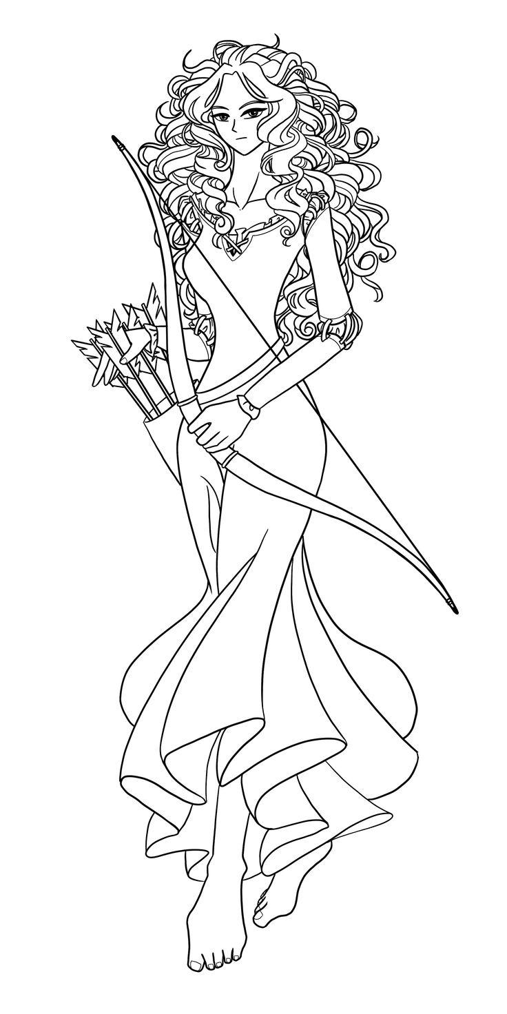 Disney princess merida from brave fan art illustration