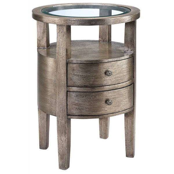 This Round Accent Table Boasts A Beveled Glass Top, Two Drawers, Tapered  Legs, An Open Shelf Area And A Hand Painted Textured Pewter Metallic Finish  Over ...
