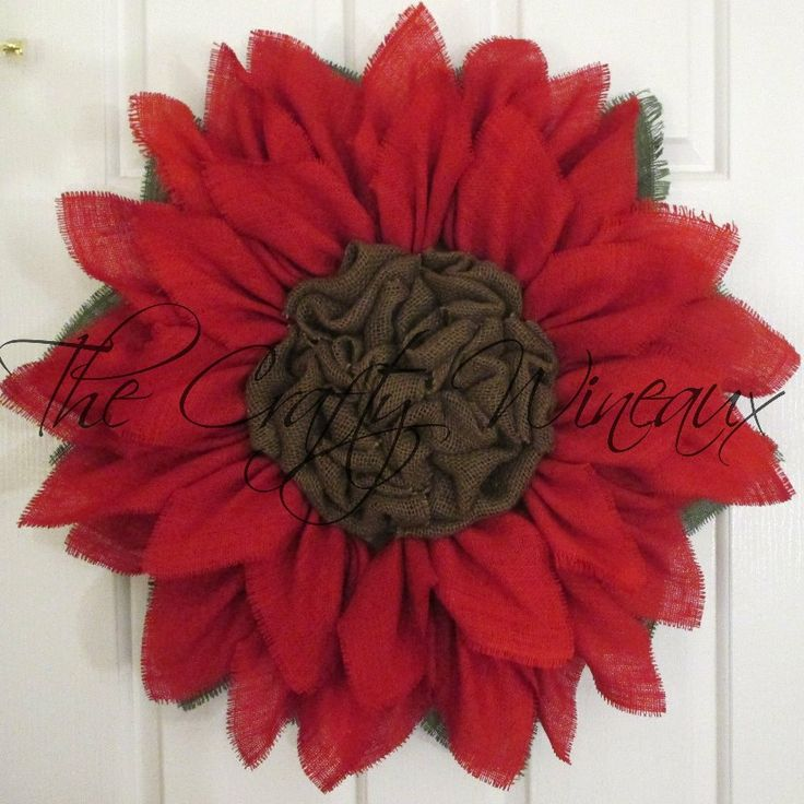 Just sold! Get your #Christmas #Holiday #Burlap #Poinsettia #Flower #Wreath today! Also on thecraftywineaux.com!