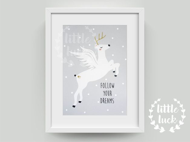 Drucke & Plakate - ♥ weißer Hirsch ♥ Kinderzimmer Poster in A4 - ein Designerstück von littleluck bei DaWanda