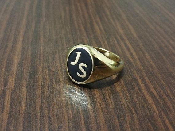 Katrina Monogram Ring Monogrammed Ring Sterling Silver Ring Monogram Ring Monogrammed Ring