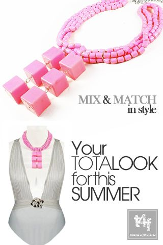 MIX & MATCH IN STYLE WITH T4F JEWELLERY!  Stay flashy under the sun and dress to impress. This season's statement jewellery bring forward the starlet inside you!     ( Swimsuit by ‪#‎gottex‬ – Necklace by ‪#‎trash4flash‬ )    ‪#‎springsummer2013‬ ‪#‎fashionjewellery‬  ‪#‎statementnecklace‬ ‪ #‎beachlook‬