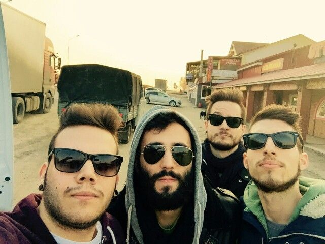 Day off #1 - trucking hard to Moscow, with sunglasses hiding bags under our eyes lol