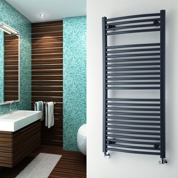 A modern heated towel rail in anthracite