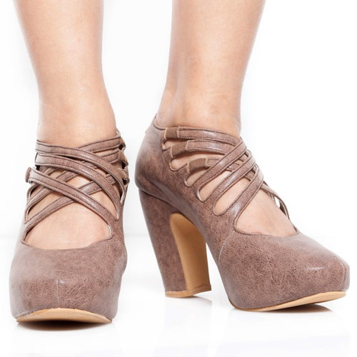 Eight Shoes - Shopia Brown Chunky Heels - Rp. 279.500