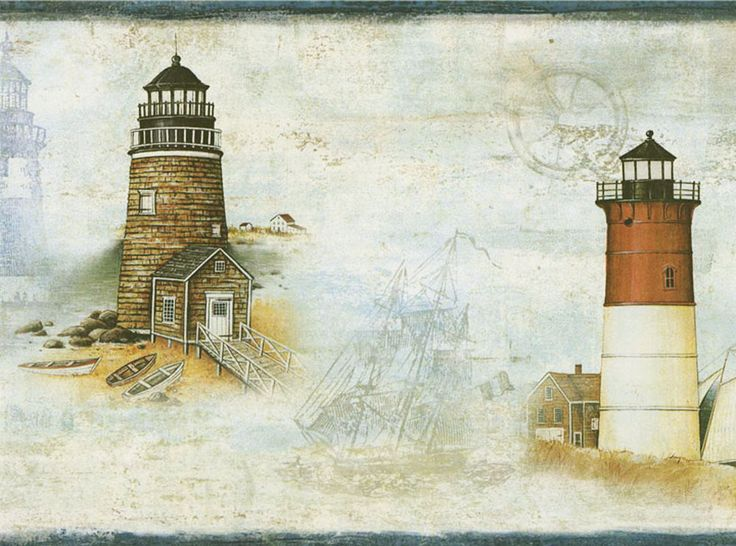 Best Beach House Wallpaper Borders Images On Pinterest - Discontinued lighthouse border