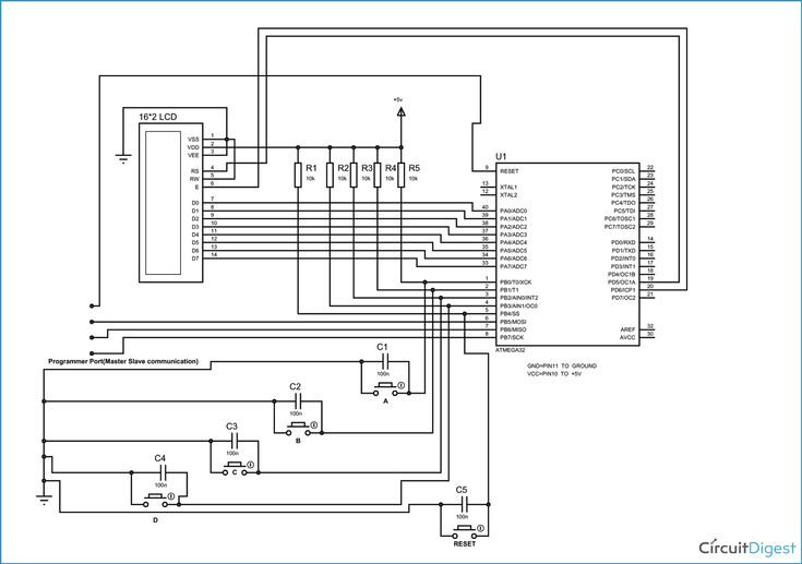 Circuit Diagram of Electronic Voting Machine