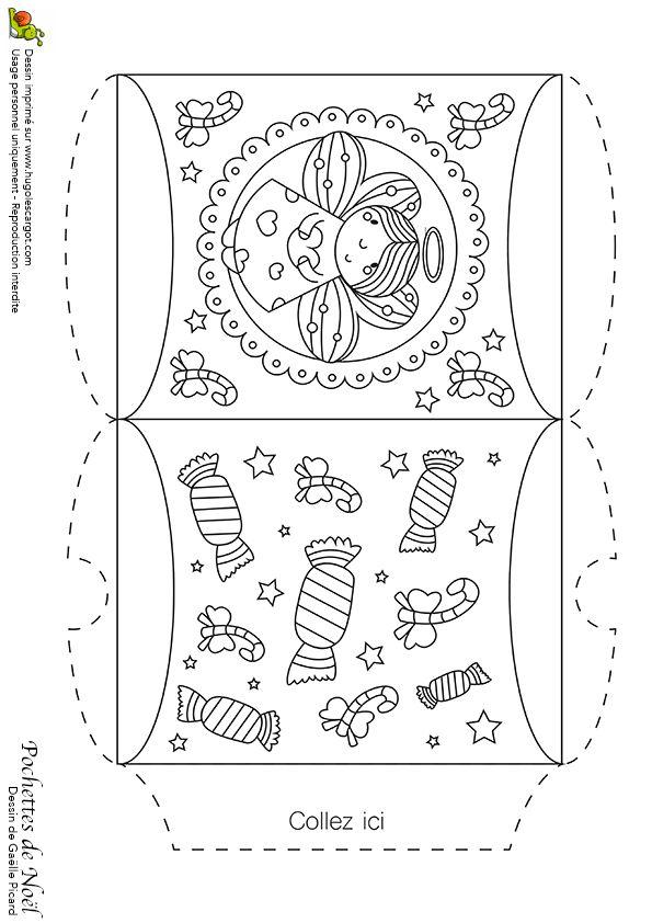 Une jolie pochette de noël que tu peux embellir avec des couleurs avec l'ange Gabriel et les bonbons