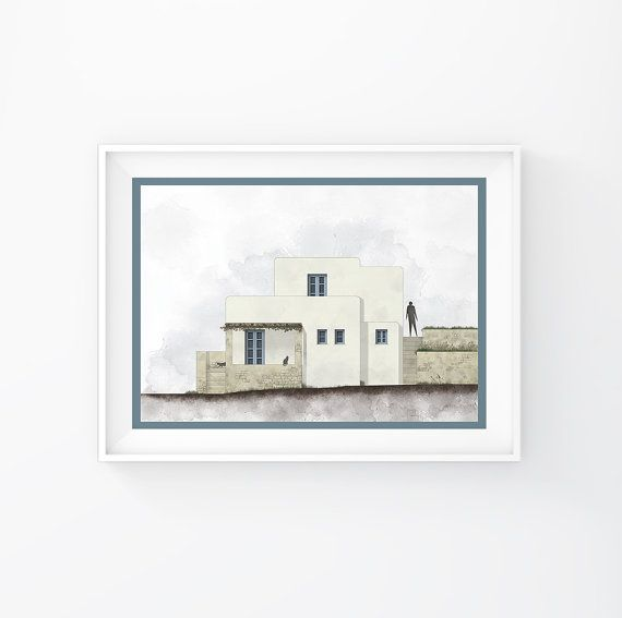 Greek art, greek islands, Greece posters, minimalist art print, print, Wall Decor, Office Decor, Cycladic Architecture,INSTANT DOWNLOAD.