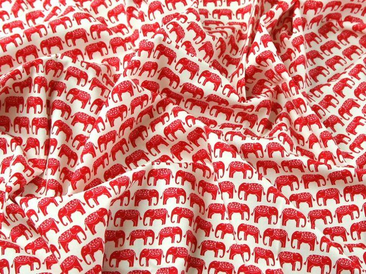 Indian Elephants Print Cotton Poplin Dress Fabric   Fabric   Dress Fabrics   Minerva Crafts