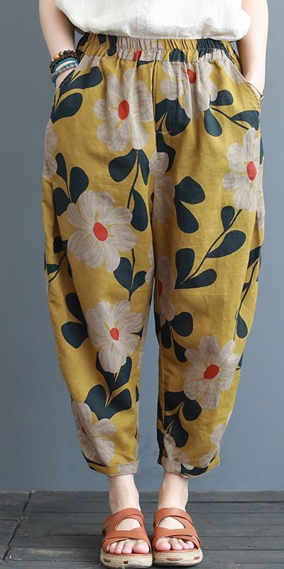 Summer Loose Yellow Cotton Linen Pants Women Casua…
