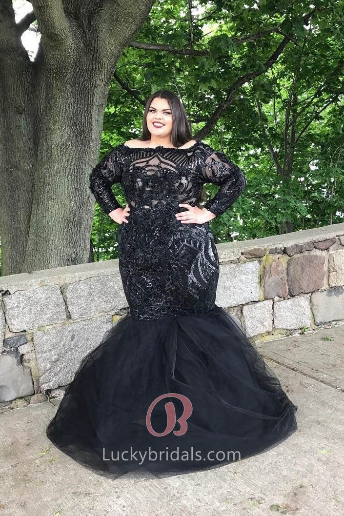 09e5b40788984 Plus Size Black Sequin and Tulle Long Sleeve Off-the-shoulder Trumpet Prom  Dress