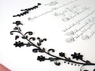 Black and silver floral and scrolls
