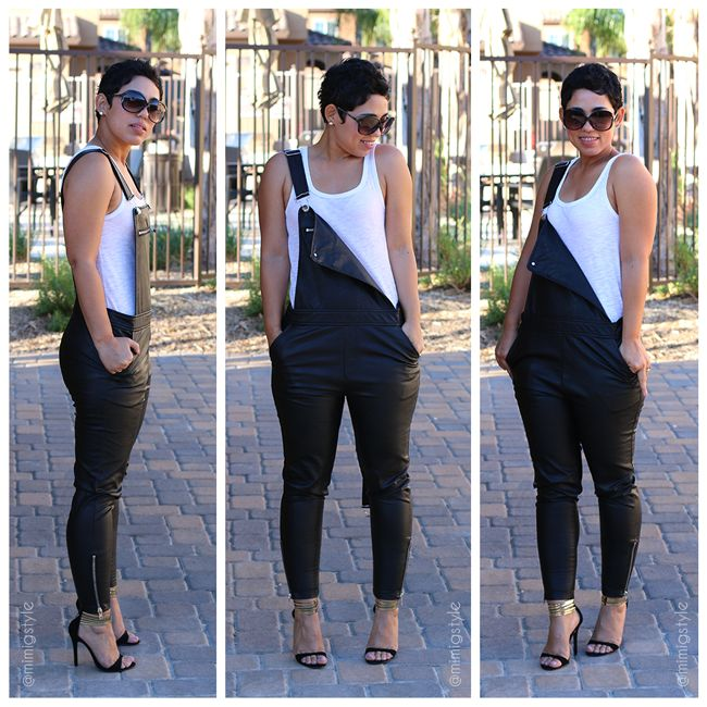 Leather Overalls & Shawl Cardigan