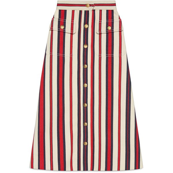 Gucci Striped Denim Long Skirt ($1,360) ❤ liked on Polyvore featuring skirts, denim, ready-to-wear, women, floor length skirt, striped skirts, denim maxi skirt, stripe skirts and denim skirt
