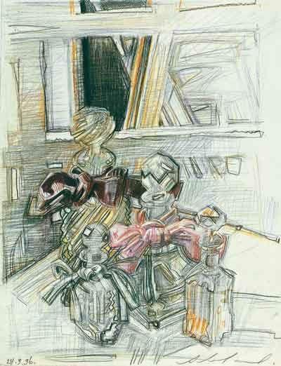 Флаконы с бантами. 1996. Бумага, цветной карандаш