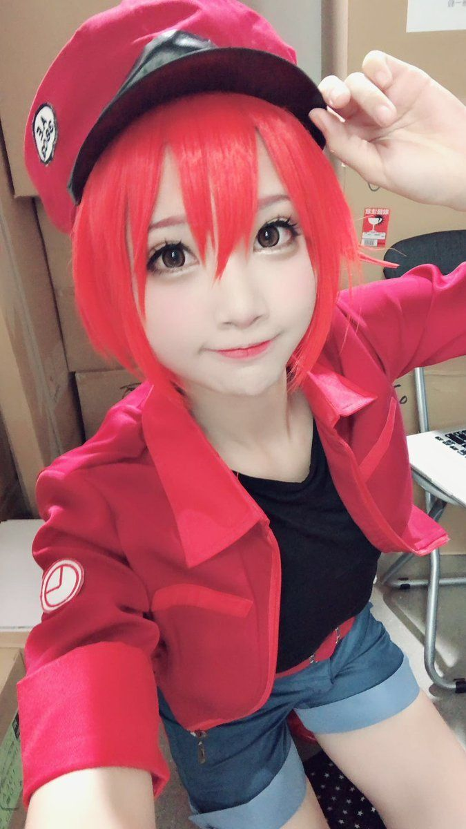 Hataraku Saibou Cells at Work  はたらく細胞 Erythrocyte  Red Blood Cells Cosplay Wig
