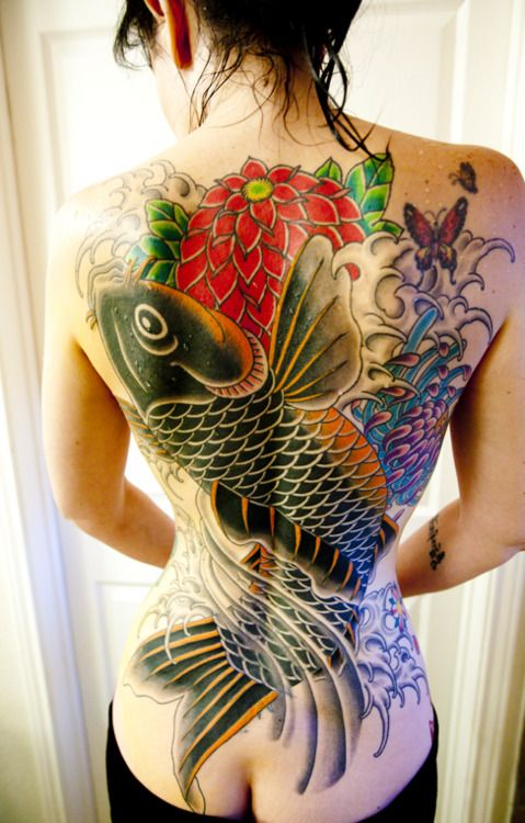 #koi back tattoo design| http://tattoo168.blogspot.com