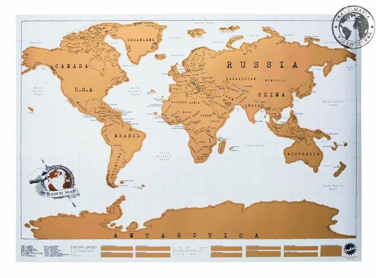 Mapa Raspable Blanco 88 x 52 cm.