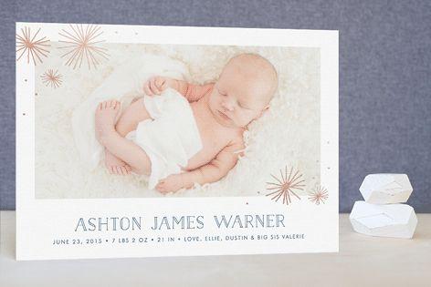 Little Starbursts Foil-Pressed Birth Announcements