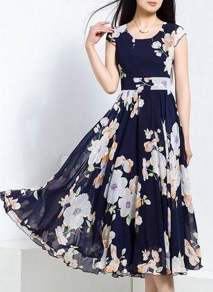 Chiffon Floral Sem magas Midi Vintage Vestidos de