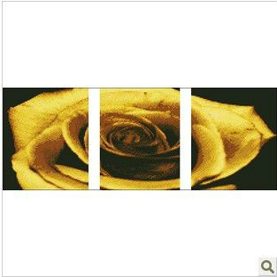 Счетный бесплатная Доставка Вышивка Крестом Наборы Трехместный Золотая Роза Лепесток 00096