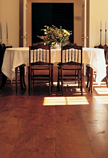 White pines pine and wide plank on pinterest for Dining room wood flooring ideas