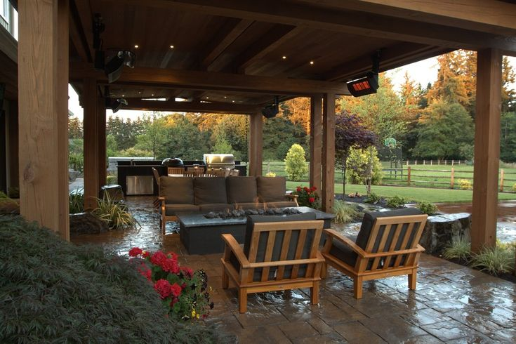 Gorgeous covered stone patio with heaters gas fire pit for Covered deck furniture