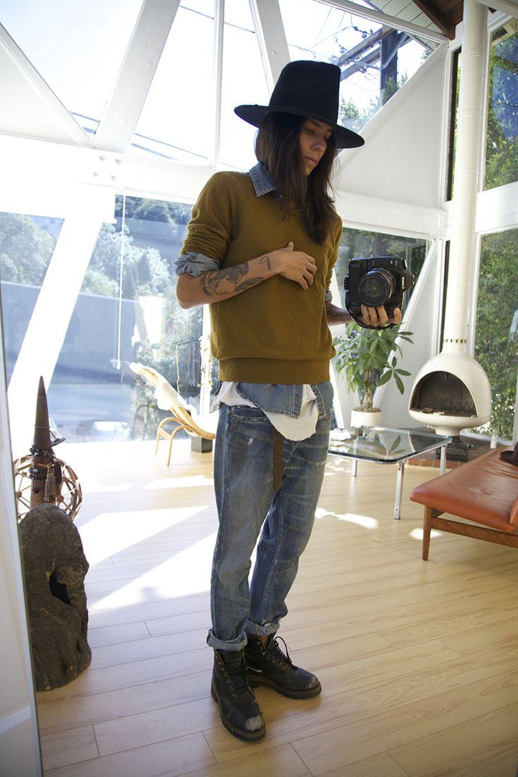 Tasya van Ree in a vintage Stetson hat, J Crew sweater, Vintage Levis denim shirt, Rick Owens tank and Prps Heirloom pants.