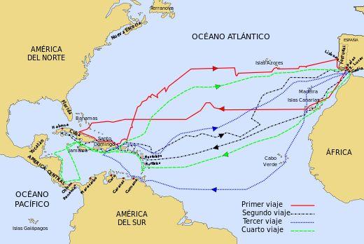 Los cuatro viajes realizados por Cristobal Colón a América. Incluyendo el primero que es el descubrimiento de la misma.
