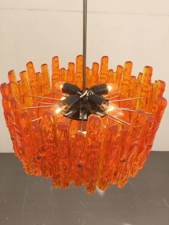 Orange Acrylic Icicle Chandelier in the Manner of Kalmar 3