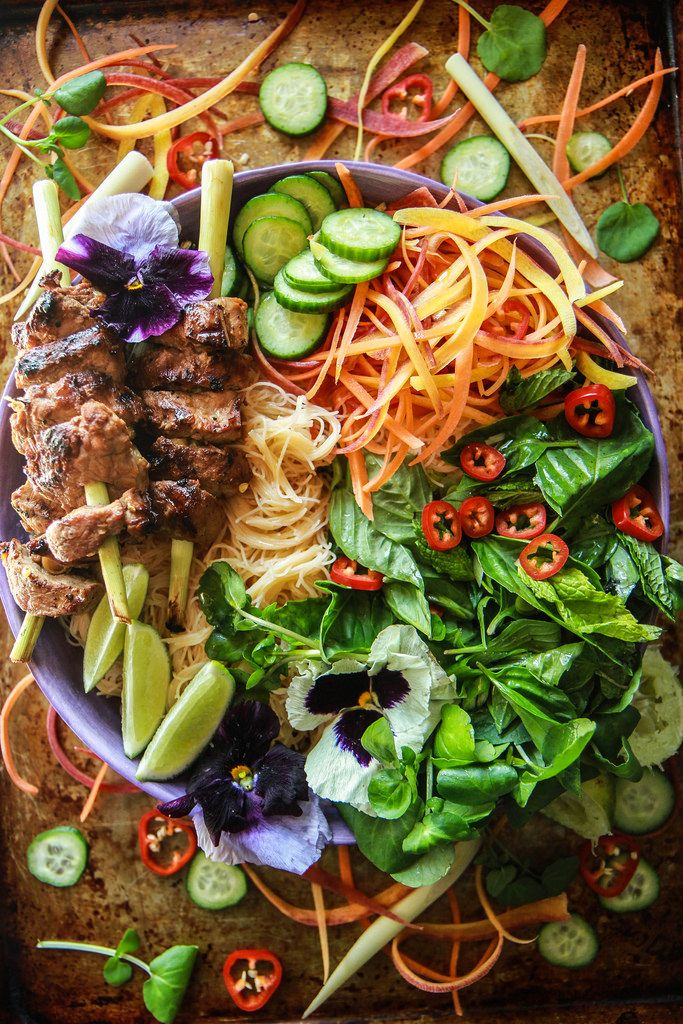 Lemongrass Pork Vietnamese Noodle Bowl from HeatherChristo.com