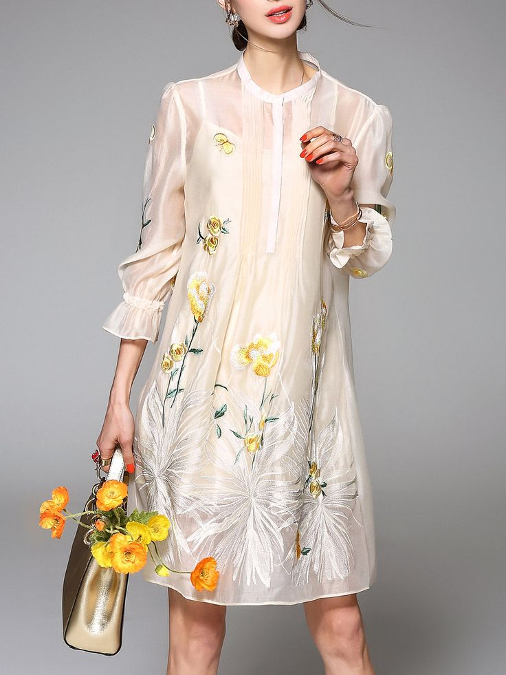 Yellow Two Piece 3/4 Sleeve Organza Floral Mini Dress - StyleWe.com